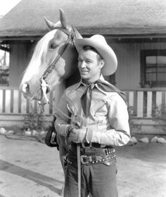 """Roy Rogers and Trigger. Roy Rogers was born Leonard Franklin Slye in Cincinnati in 1911. Singer & cowboy actor & the namesake for Roy Rogers restaurants. Roy along with his wife, Dale Evans, Palomino, Trigger & German Shepherd, Bullet were in over 100 movies & """"The Roy Rogers Show""""."""