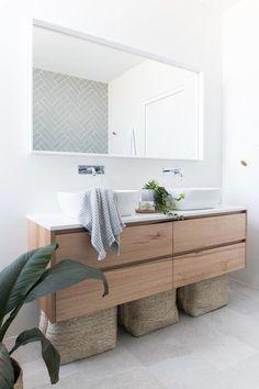 Investment bathroom showcasing Tasmanian Oak Staples Vanity – Carrningbah - Home Dekor Bad Inspiration, Bathroom Inspiration, Furniture Inspiration, Wood Bathroom, Small Bathroom, Bathroom Ideas, Serene Bathroom, Vanity Bathroom, White Bathroom