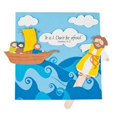 Looking for a unique VBS or church activity for kids? This fun foam Jesus Walks on Water Craft Kit is a must! Kids can place the self-adhesive foam Jesus . Jesus Crafts, Bible Story Crafts, Man Crafts, Bible Crafts For Kids, Craft Kits For Kids, Preschool Crafts, Bible Stories, Peter Walks On Water, Jesus Walk On Water