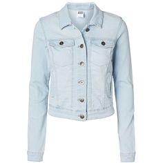 Vero Moda Denim Jacket (725 MXN) ❤ liked on Polyvore featuring outerwear, jackets, tops, denim jackets, shirts, button up jacket, long sleeve denim jacket, long sleeve jacket, blue jackets and blue jean jacket