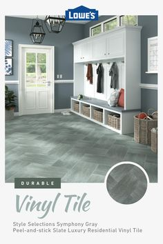Choose from attractive and affordable peel & stick vinyl options in stock now at Lowe's. Mudroom Laundry Room, Laundry Room Remodel, Laundry Room Design, Basement Living Rooms, Mud Rooms, Basement Remodeling, Home Renovation, Home Organization, Home Projects