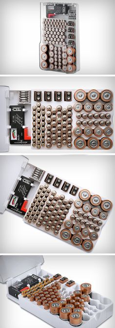 The Battery Organizer, as simple as it may sound, can be quite a life saver. Designed with precise optimization, it makes space for any and all batteries you may use or need, in quantities depending on their popularity/acceptance and need. The rack can hold up to 93 separate batteries and makes individual slots for everything from D size to C size to your ever-useful AA and AAA sizes. BUY NOW!