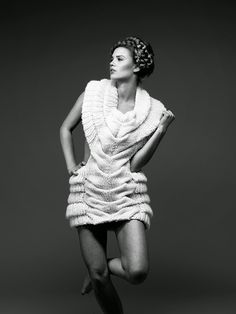Sculptural Fashion - knitted dress with intricate shape, artistic knitwear design // Caroline Dahl