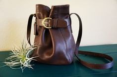 Vintage Coach 4156 Cross Body Purse, Chocolate Brown Leather Belted Bucket Bag by SilverMustangVintage on Etsy