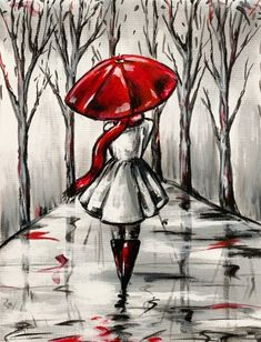 Paint Nite painting Red Umbrella II by artist Michelle Smith from Palm Desert, CA, USA. Cool Art Drawings, Pencil Art Drawings, Art Sketches, Umbrella Painting, Umbrella Art, Red Art, Love Art, Painting & Drawing, Watercolor Paintings