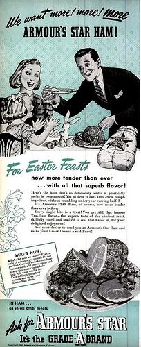 Focused on the one thing that matters: more! more! more Armour's Ham! A delightfully nutty (or hammy, really) ad from 1940.