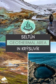 Seltún geothermal area in Krýsuvík is one of the most striking landscapes in Iceland. Steam dominates the area with volcanic vents, fumaroles, mud pots and boiling hot springs. The green hills are painted in earthy colors of golden brown, red, pink, blue, yellow, white and grey. Iceland Travel Tips, Cultural Events, Golden Brown, Hot Springs, Arctic, Blue Yellow, Mud, Earthy, Pots