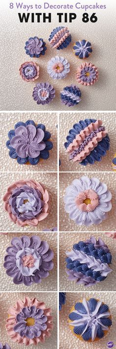 Learn 8 ways to decorate cupcakes using the Wilton  ruffle decorating tip 86! Featuring a star-shaped end and a petal end, this tip is great for cake borders and shell borders. The original shape of the tip helps give these cupcake decorations added height and dimension.