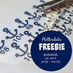 Plotter Freebie - maritime Größenetiketten in den Größen 44 bis 160 und 50-56 bis 104-110