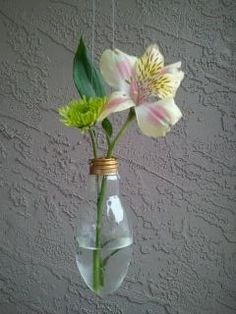 Recycled Hanging Light Bulb Vase small by victoriaking on Etsy. $15.00 USD, via Etsy.