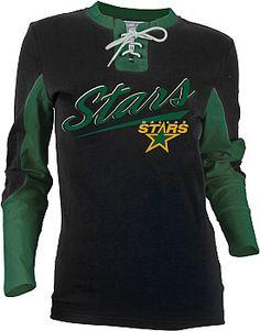 Old Time Hockey Dallas Stars Women's Adina Laceup Jersey T-Shirt