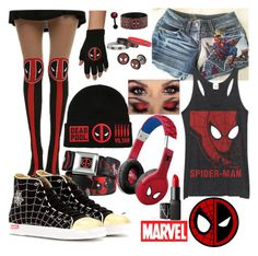 """Spideypool"" by asgardiannova ❤ liked on Polyvore featuring Marvel, Charlotte Olympia and NARS Cosmetics"