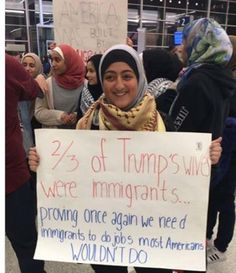 Best Donald Trump Protest Signs: Trump's Wives Were Immigrants