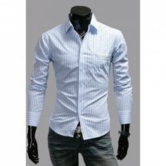 $10.09 Casual Style Shirt Collar PU Leather Purfled Pocket Long Sleeves Polyester Stripes Shirt For Men