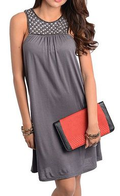 Gray Embellished Dress