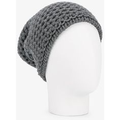 Inverni Chunky Wool Knit Beanie ($179) ❤ liked on Polyvore featuring accessories, hats, wool knit hat, grey hat, grey beanie hats, wool beanie and chunky knit beanie