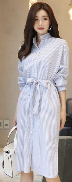 StyleOnme_Pinstripe Mandarin Collar Long Shirt Dress #pinstripe #shirt #dress #koreanfashion #kstyle #kfashion #springtrend #dailylook