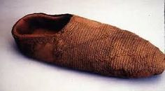 10th century woollen sock from Coppergate made using the nålebinding technique. York or copper-gate stitch, link to site how to make sock