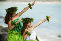 Mom and daughter hula style