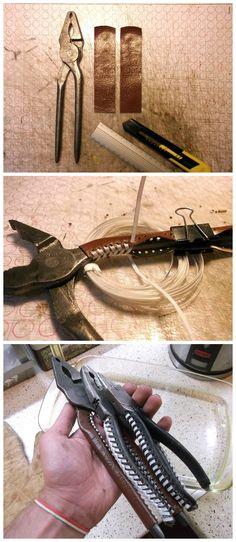 Repairing tool handles with plastic bottles string.