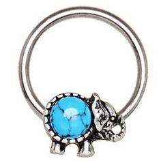 Piercing micro-bcr 159 - éléphant turquoise. Piercing anneau en acier chirurgical avec éléphant ventre turquoise de quatre millimètres. L'anneau mesure 1,2 millimètre de diamètre et dix millimètres de longueur. Piercing couleur argenté..