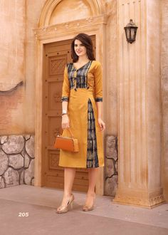 Amazing orange cotton printed kurti