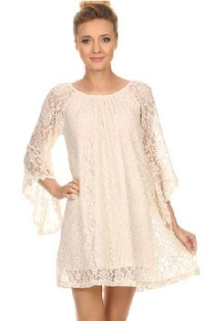 Cream Pretty In Lace Tunic Dress