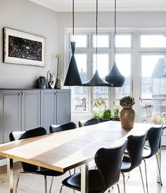 Elegant and stylish apartment in Frederiksberg, Denmark Dining Room, Dining Table, Deco Furniture, Farrow Ball, Interior Inspiration, Inspiration Boards, Table Decorations, Elegant, Stylish