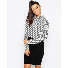 Missguided Stripe Crop Sweatshirt ($29) ❤ liked on Polyvore featuring tops, hoodies, sweatshirts, cream, crop top, cream crop top, striped top, white crop top and cream top