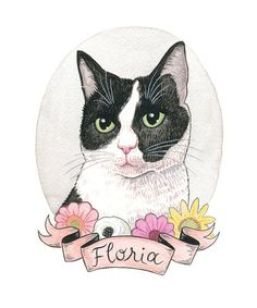 Portrait de chat sur mesure. Chat noir et blanc. Art par haanayoo