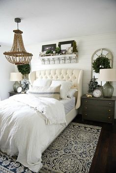Liz Marie Blog | Bedroom --Put large bookshelf above bed!