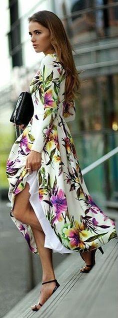 Leaves Print Floral Spilt Loose Long Dress