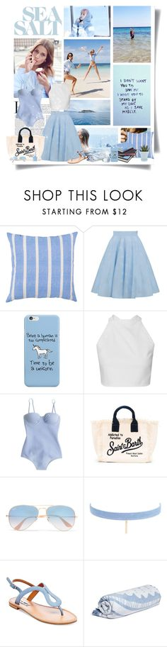 """""""The cure for anything is salt water: sweat, tears or the sea"""" by kikusek ❤ liked on Polyvore featuring J.Crew, MC2, Ray-Ban, Jules Smith, Steve Madden, The Beach People and Chive"""
