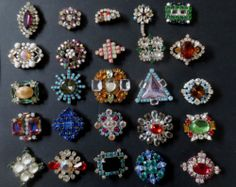 Czech Vintage Style Glass Rhinestone Buttons
