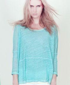 Liv Bergen Boxy Shirt Leinenjersey MYRIELLE turquoise