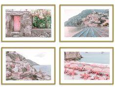 Positano Italy Prints Beach Photo Gallery Set of 4 Beach Photography Wall Art Blue Wall Decor, Pink Wall Art, Beach Wall Art, Travel Gallery Wall, Travel Wall Art, Pastel Home Decor, Beach Photos, Wall Collage, Canvas Art Prints
