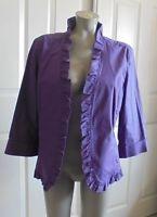 Chico's -  Purple Open Ruffled 3/4 Length Sleeves Jacket/Blazer Size 2 (12-14)