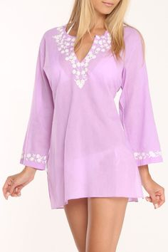 Bathing Suit Cover-Up In Lilac.