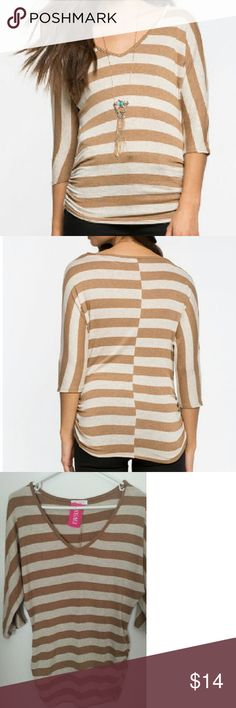 "SALE!!!  NWT Earthy Striped Dolman Keep it down to earth in this striped tee, featuring dolman 3/4 sleeves and shirred sides. V- neck.  Measures approx. 25"" length, 34.5 chest, 26.5"" waist, 17"" sleeve length Brown Pattern 95% Rayon, 5% Spandex Hand wash cold a'gaci Tops Blouses"