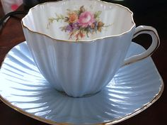EB Foley Tea Cup and Saucer Blue Tea Cups Antique Teacups