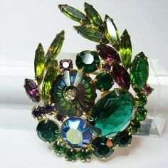 Juliana D&E Weiss Brooch Green Margarita by RhinestonesPast, $65.00