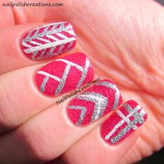 Nail Polish Creations: Stripping Line Design Skittle
