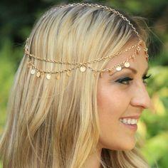 Sequins Waves Tassel Chain Hair Accessories
