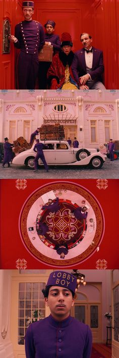 Bold use of pink, purple and red tones in The Grand Budapest Hotel, directed by Wes Anderson.