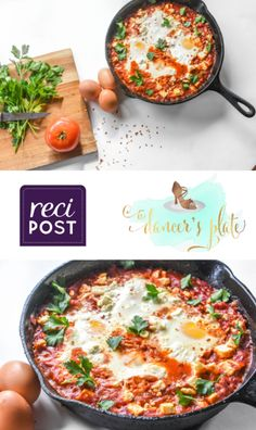 Click for original post Serves: 4 Time: 1:10 m (20 m prep, 50 m cook) Ingredients: (Ingredients and measurements subject to availability) Shakshuka: - 2 T. extra virgin olive oil* - 1 large onion, ver