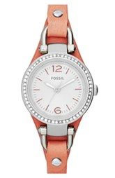 Fossil 'Small Georgia' Crystal Bezel Leather Strap Watch, 26mm