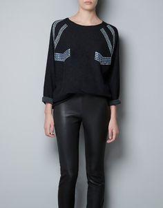 SWEATSHIRT WITH COLOURED STUDS - T-shirts - Woman - ZARA United Kingdom