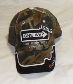 70cd50f34c50e ONE WAY JESUS (Says It all) John 14 6 Christian Hat Baseball Cap