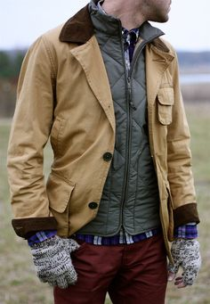 Quilted and hunting outerwear layering.