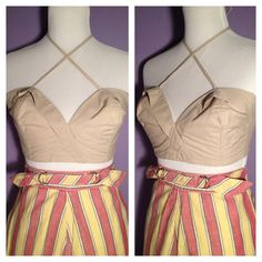 Vintage 1950's Fun in the Sun Top - Khaki Cream Cotton - Bustier Bra Top - 50's Pinup Halter Top - by HIFI VINTAGE